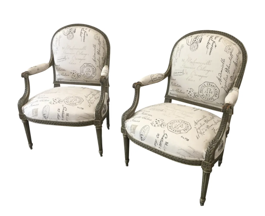 French Antique Painted Armchairs - a Pair
